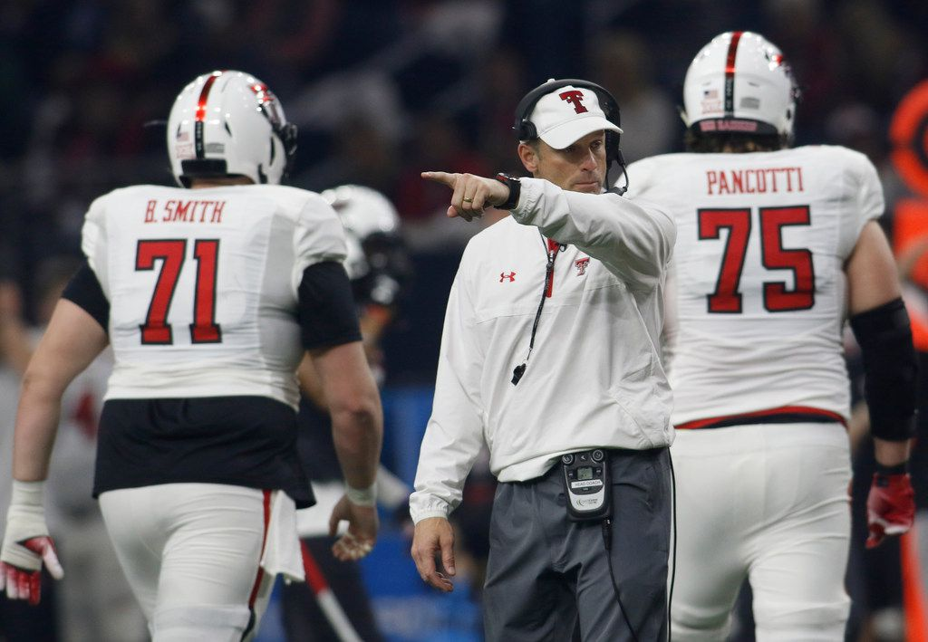 Texas Tech head coach Matt Wells makes a point between plays during first half play. The annual spring game for the Texas Tech football program was held at The Star in Frisco on April 13, 2019. (Steve Hamm/ Special Contributor)