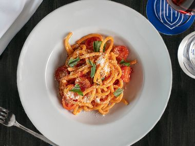 Spaghetti allo Scarpariello is one of chef Dino Santonicola's pastas on the menu at Partenope Ristorante in downtown Dallas.