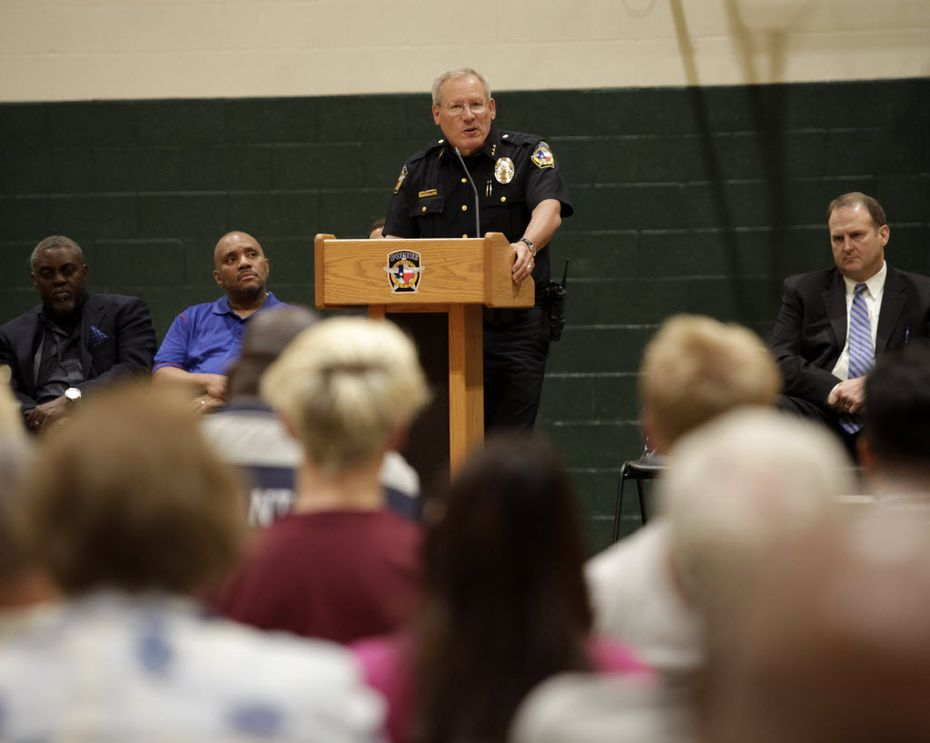 McKinney Police Chief Greg Conley speaks during a community forum. (Jason Janik/Special Contributor)