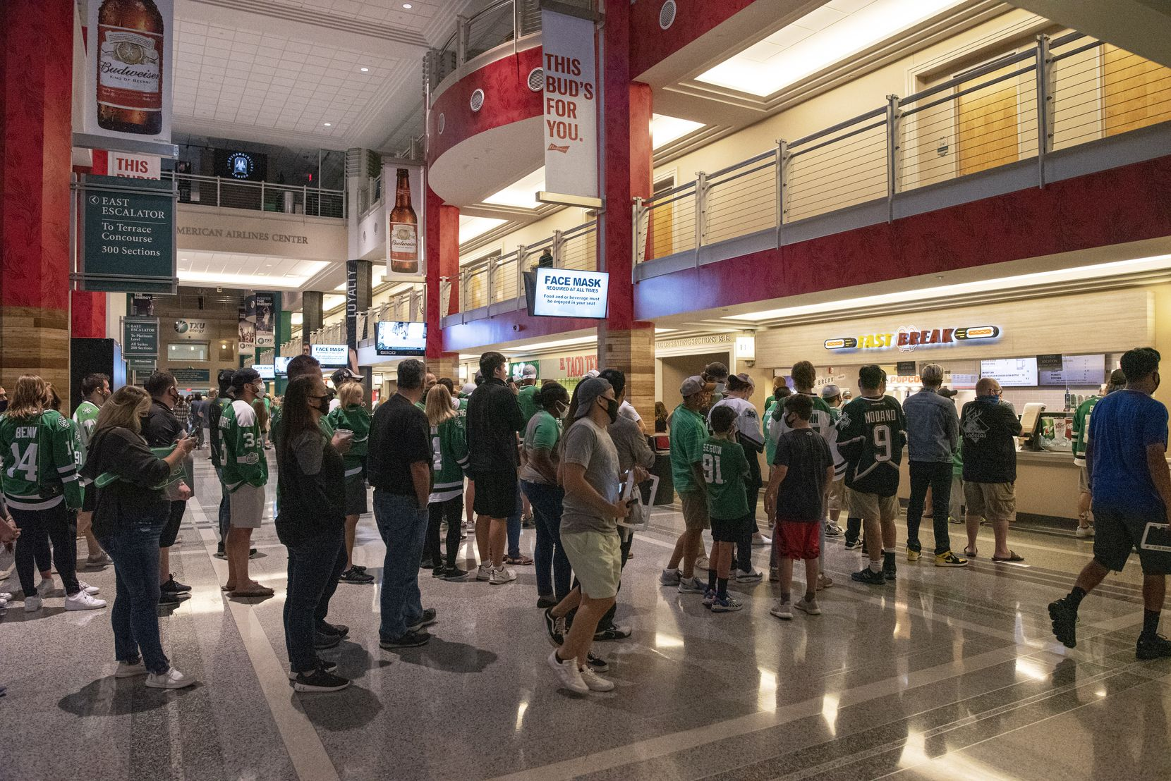 Dallas Stars fans wait in line at concession stands during a watch party at the American Airlines Center for game 1 of the Stanley Cup Final, Saturday, on Sept. 19, 2020. Ben Torres/Special Contributor
