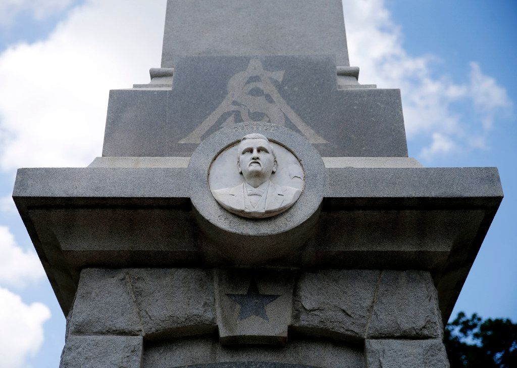 """Affixed to the south side of the Confederate War Memorial in Dallas is a likeness of Gen. William L. Cabell. Known affectionately as """"Old Tige,"""" Cabell served in the Confederate army and later was mayor of Dallas. (Tom Fox/Staff Photographer)"""