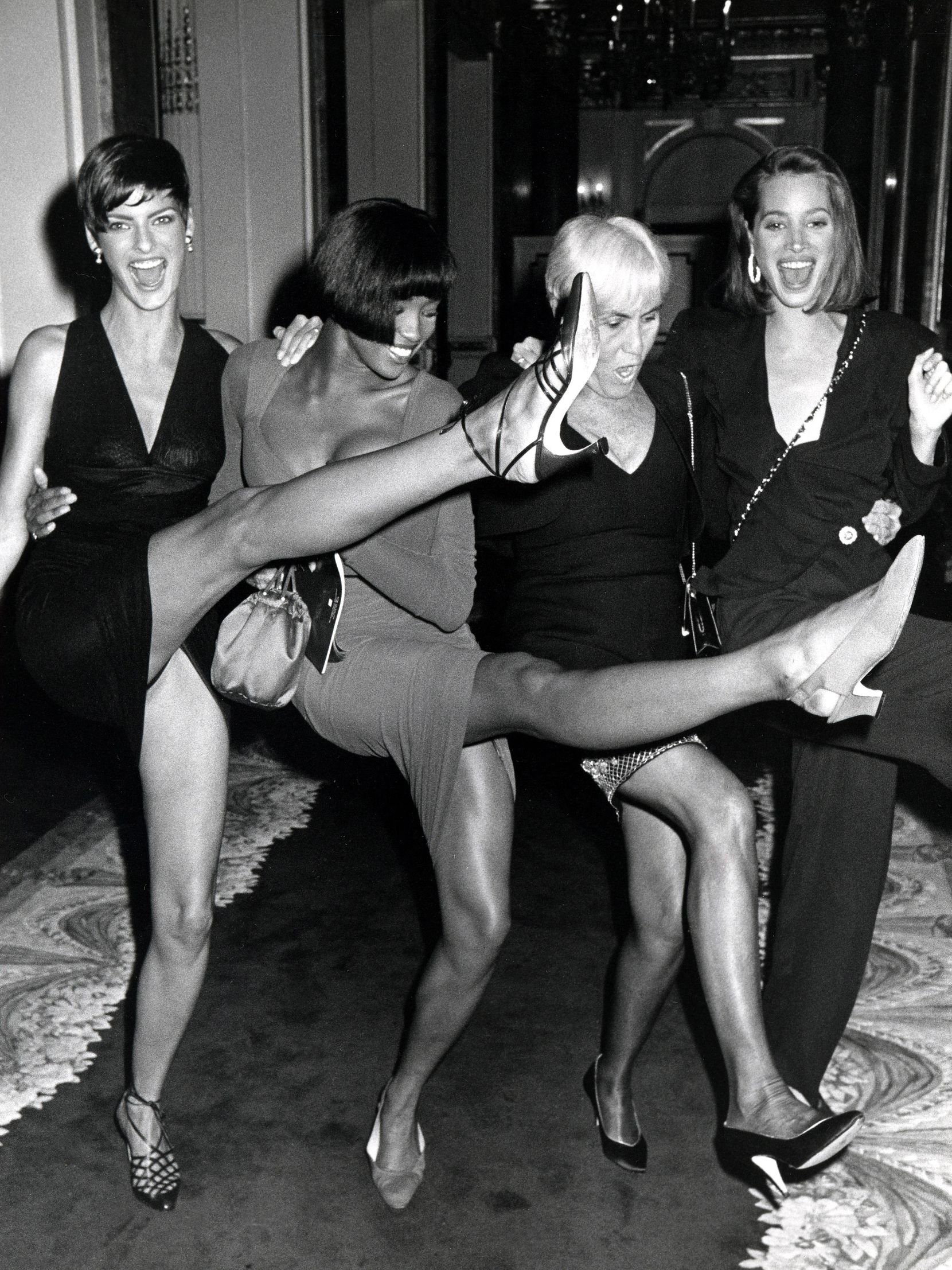 Linda Evangelista, Naomi Campbell, fashion editor Polly Mellon, and Christy Turlington at the The Plaza Hotel in New York City.