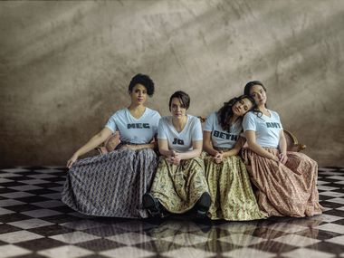 The cast of Little Women at the Dallas Theater Center: Jennie Greenberry as Meg March, Pearl Rhein as Jo March, Maggie Thompson as Beth March and Lilli Hokama as Amy March.
