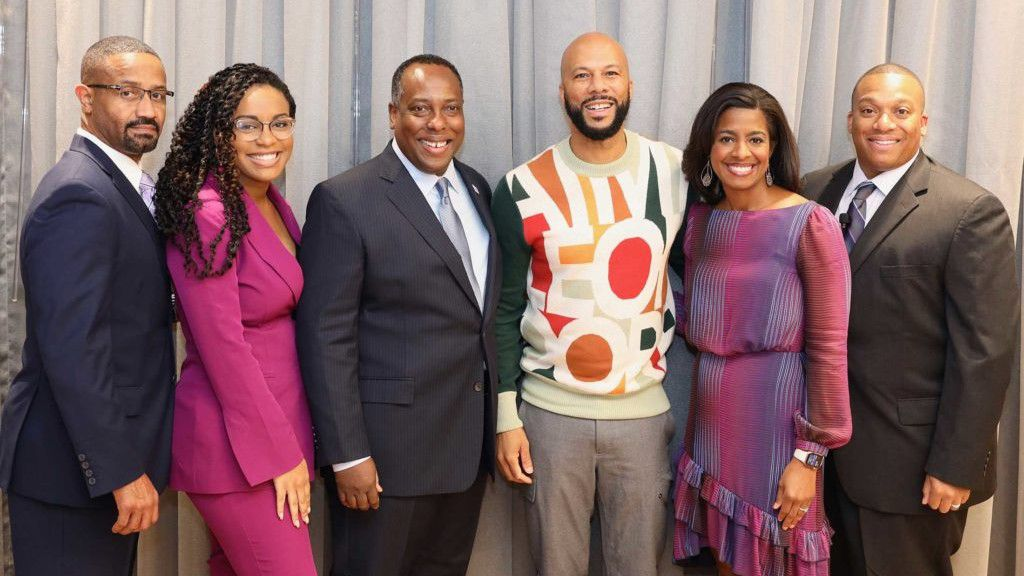 (Left to right) Mike Brown, sales zone director, Frito-Lay; Courtney Cola, public relations manager, Frito-Lay; Steven Williams, CEO, PepsiCo Foods North America; Common, actor and activist and this year's keynote speaker; Rhasheda Boyd, senior director, marketing, Frito-Lay; and Cyril Wallace, vice president, sales, Atlantic Region, Frito-Lay.