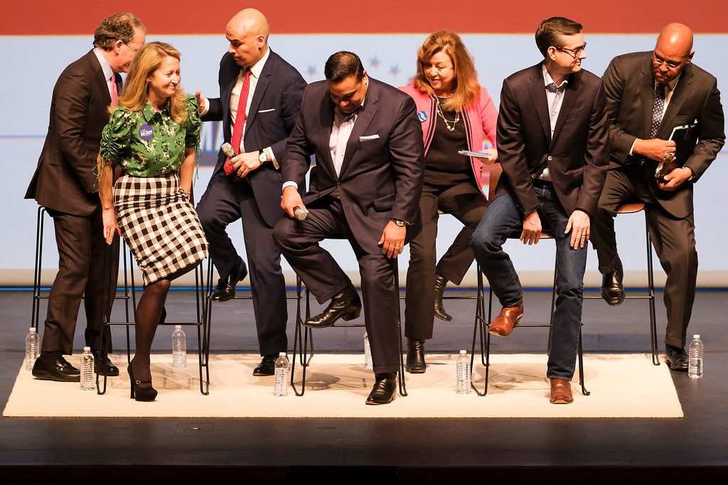 From left: Dallas mayoral candidates Mike Ablon, Lynn McBee, Miguel Solis, Jason Villalba, Regina Montoya, Scott Griggs and Albert Black at the conclusion of the Engage Dallas 2019 mayoral candidates forum hosted by the Mayor's Star Council at the Music Hall at Fair Park on March 8, 2019.