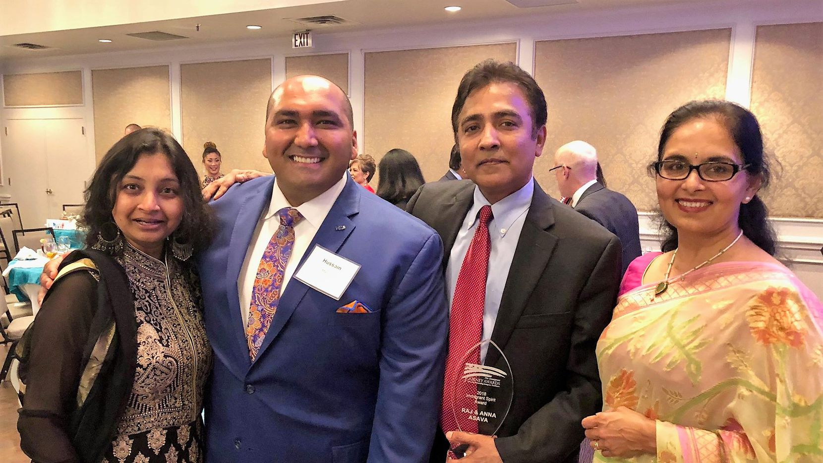 From left, Sejal Desai and Hussain Manjee with Immigrant Journey Award winners Raj Asava and Aradhana Asava at the 2018 Immigrant Journey Awards Gala on Friday at the Clubs of Prestonwood in Dallas. (Facebook)