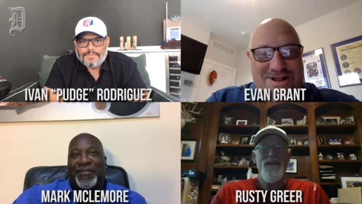 Rangers legends Pudge Rodriguez, Rusty Greer and Mark McLemore join Evan Grant for a virtual conversation.
