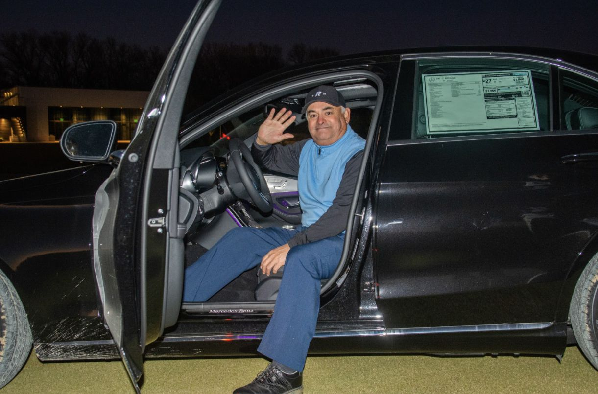 Henry Cagigal, an assistant professional at Fort Worth s Rockwood Park Golf Course, won a 2021 Mercedes Benz C300 donated by the Ewing Automotive Group in a closest-to-the-pin contest during the Ewing Charity Classic on Monday Nov. 30, 2020. From a tee box set up 80 yards from the pin on No. 18 at Trinity Forest Golf Club, Cagigal hit a 52-degree wedge, 1 foot, 11 inches from the hole.