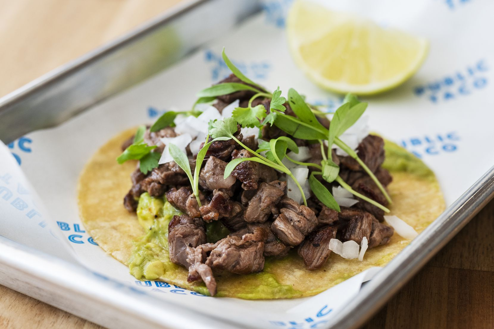 One of chef Juan Ascanio's favorite menu items is the carne asada taco at Public Taco in Dallas: skirt steak, onion and cilantro.