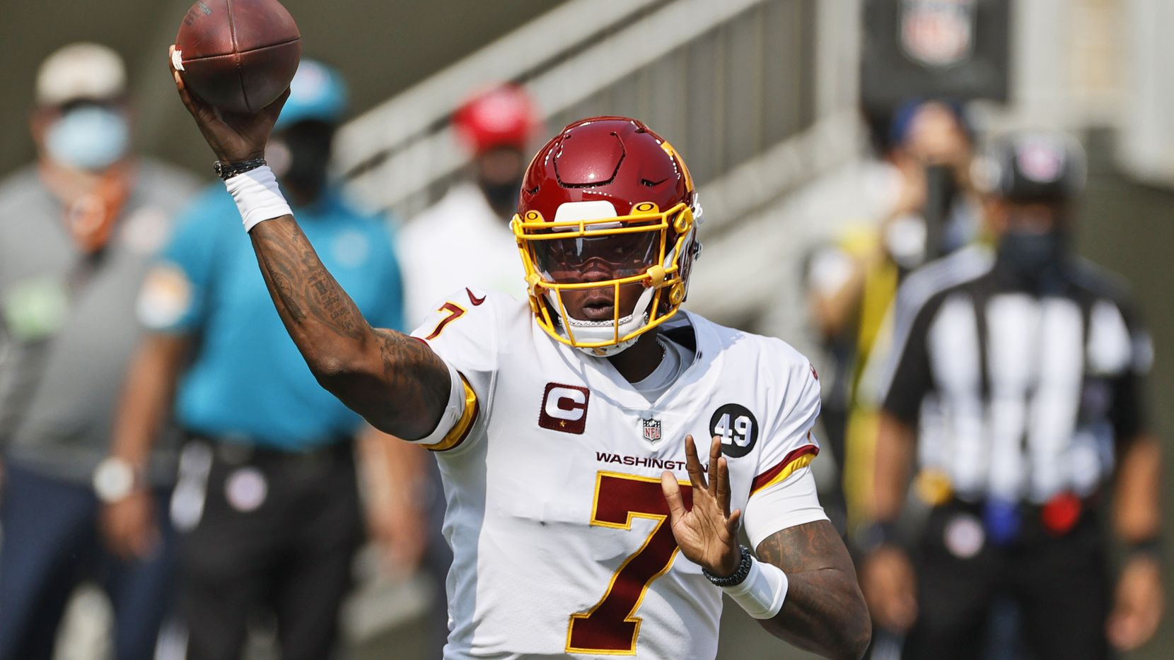 In this Sept. 27, 2020, file photo, Washington Football Team quarterback Dwayne Haskins throws during the first half of an NFL football game against the Cleveland Browns in Cleveland.