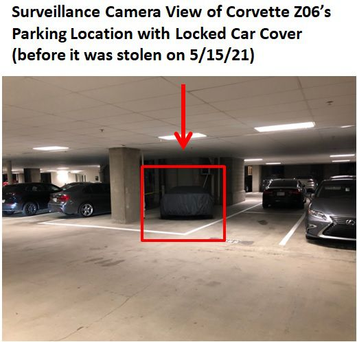 This photo and note is in Melissa Anderson's research documenting a car theft ring. She shows how she covered her car and tucked it in a corner of her garage watched by a camera. It didn't help. The Corvette was stolen.