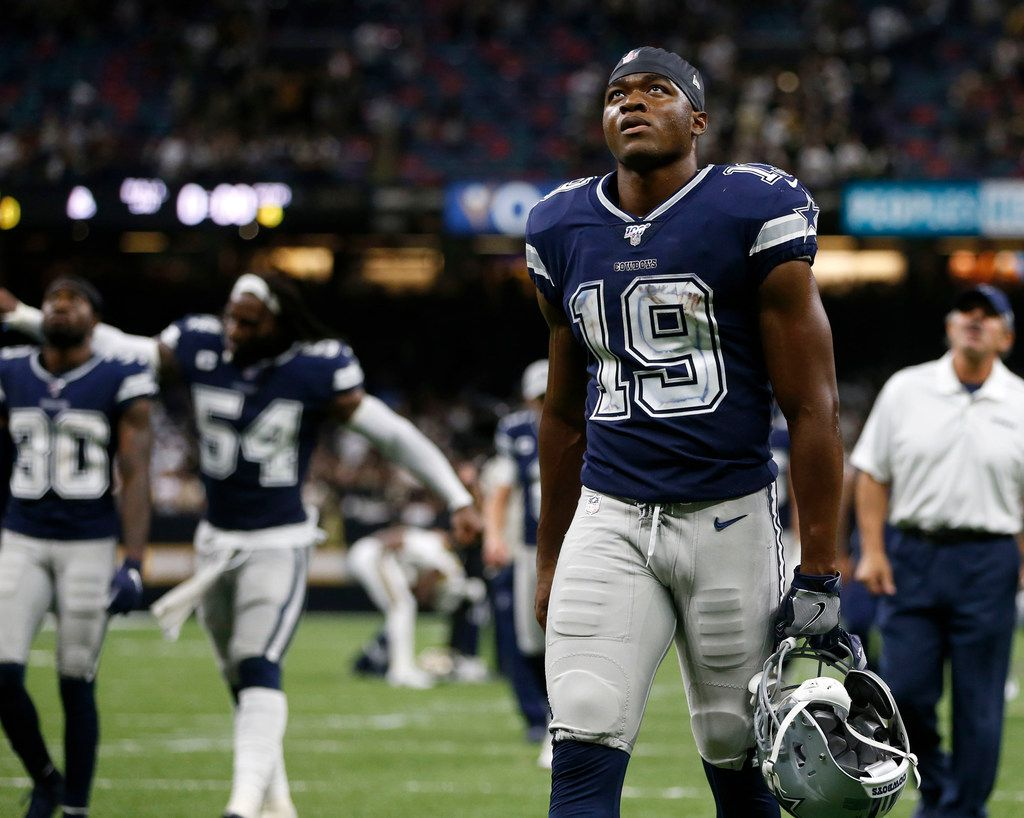 Dallas Cowboys wide receiver Amari Cooper (19) exits the field after losing to the New Orleans Saints 12-10 at the Superdome in New Orleans, Louisiana on Sunday, September 29, 2019.