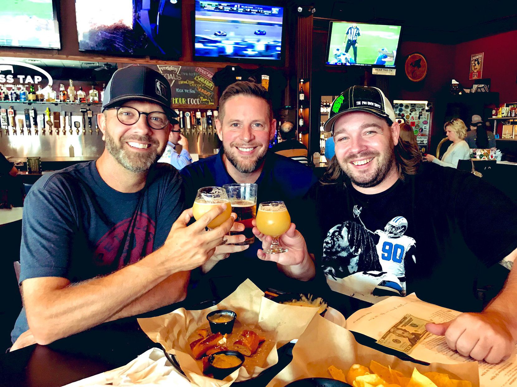 """Radio hosts Jeff """"Skin"""" Wade (left) and Ben Rogers (center) brought on brewer Tommy Miller (right) onto their Rollertown Beerworks team."""
