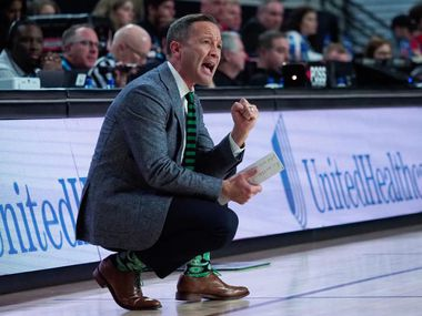 North Texas head coach Grant McCasland watches his from the sidelines during a game last season at the Ford Center. UNT fell at Western Kentucky on Thursday.