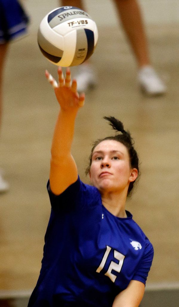 Trophy Nelson Byron Nelson's Payton Chamberlain (12) serves during the 2nd game of their match against Denton Guyer. Byron Nelson prevailed, 25-18, 25-17, 25-16 to advance to the state tournament. The two teams played their Class 6A Region l championship volleyball match at W.G. Thomas Coliseum in Haltom City on November 16, 2019. (Steve Hamm/ Special Contributor)