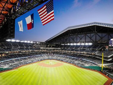 The Atlanta Braves face the Los Angeles Dodgers during first inning in Game 1 of a National League Championship Series at Globe Life Field on Monday, Oct. 12, 2020.