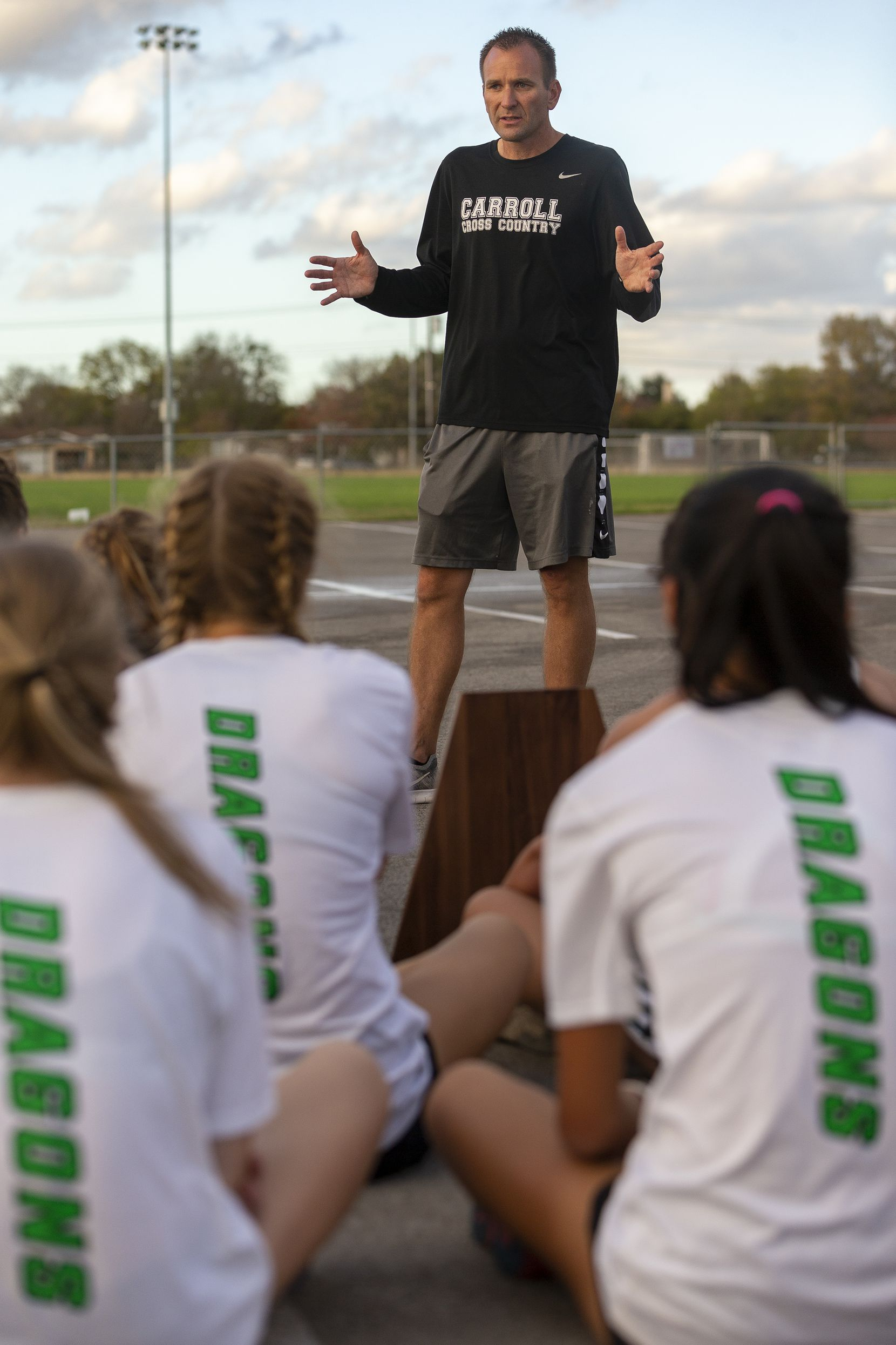 Southlake Carroll coach Justin Leonard speaks with his girls and boys team after finishing first in the boys and second in the girls team competitions of the UIL Class 6A state cross country meet in Round Rock, Tuesday, Nov., 24, 2020. (Stephen Spillman/Special Contributor)