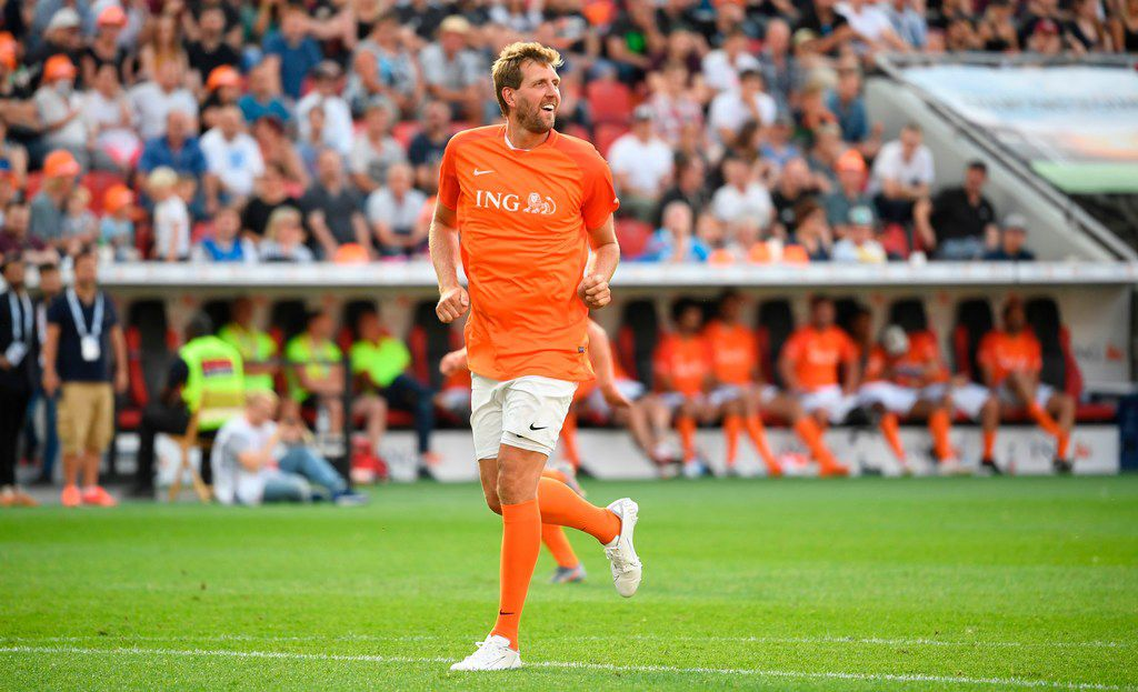 "Dirk Nowitzki of Nowitzki All Stars runs during the ""Champions for Charity"" friendly football match at Bay Arena on July 21, 2019 in Leverkusen, western Germany. (Photo by INA FASSBENDER / AFP)INA FASSBENDER/AFP/Getty Images"