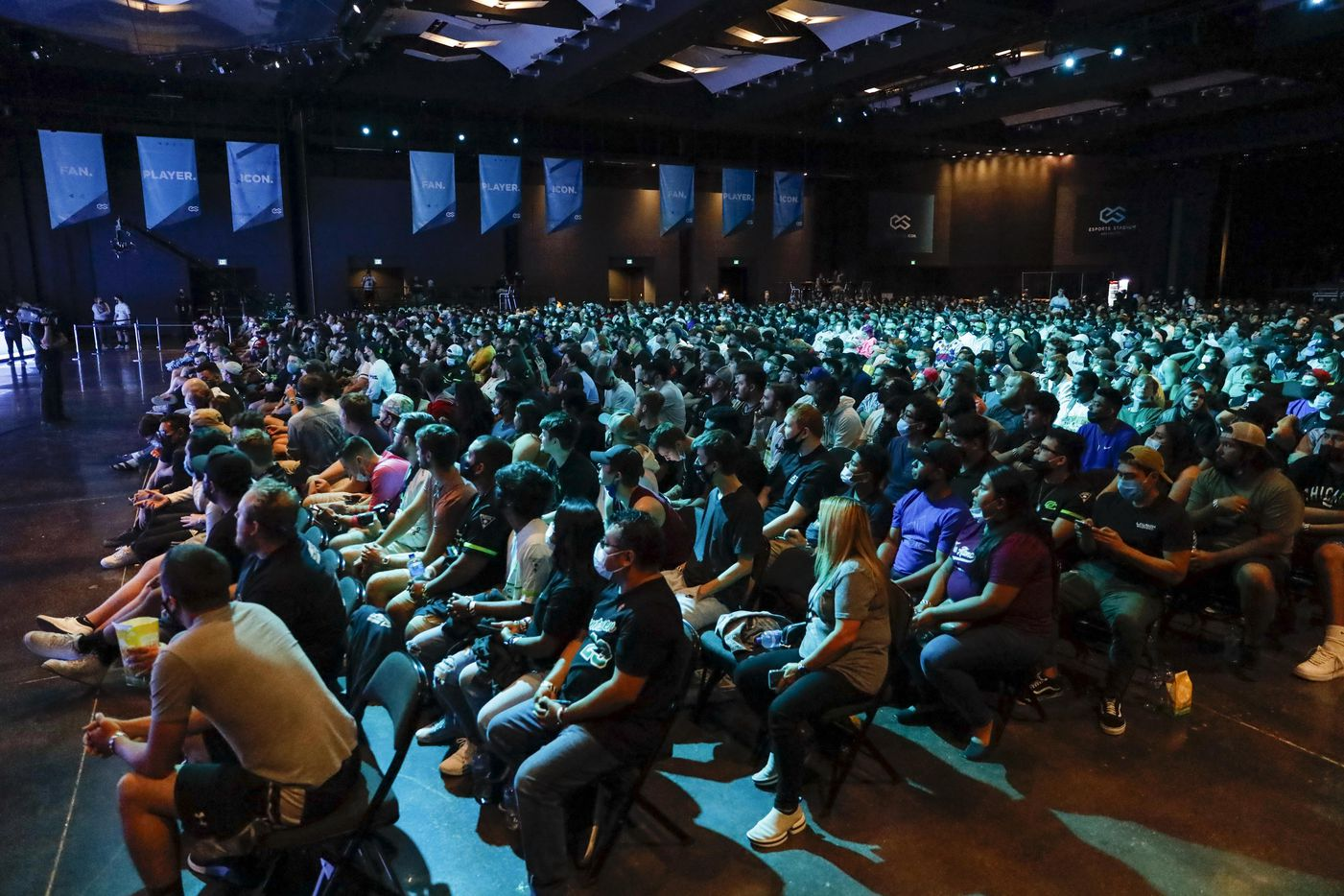 Fans watch a match between Dallas Empire and Chicago OpTic during the Call of Duty League Major V tournament at Esports Stadium Arlington on Sunday, Aug. 1, 2021, in Arlington. (Elias Valverde II/The Dallas Morning News)