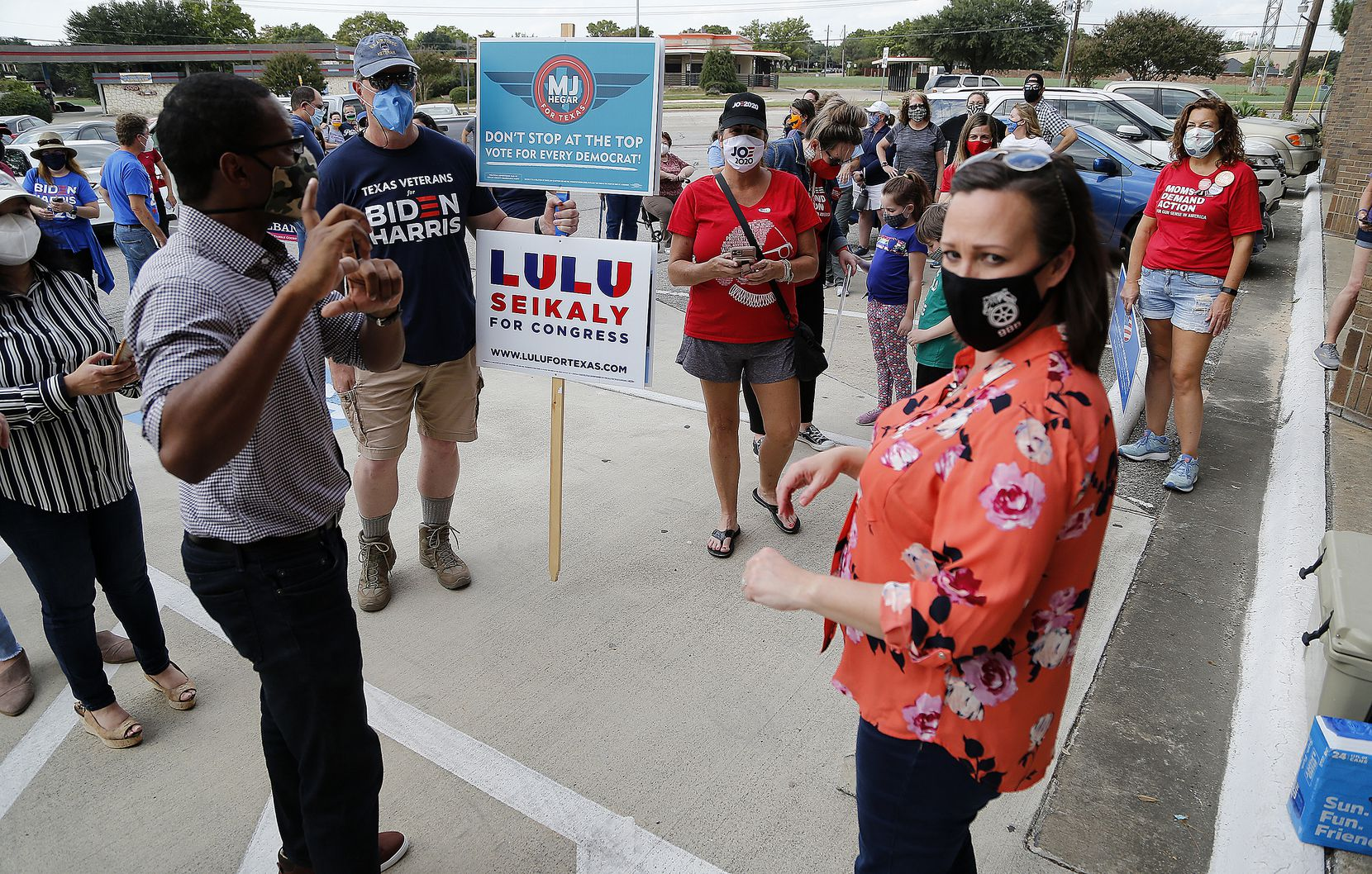 M.J. Hegar, democratic candidate for U.S. Senate, meets with supporters at the Collin County Democratic Party Office in Plano before a door knocking campaign on Sunday, October 18, 2020. (Stewart F. House/Special Contributor)