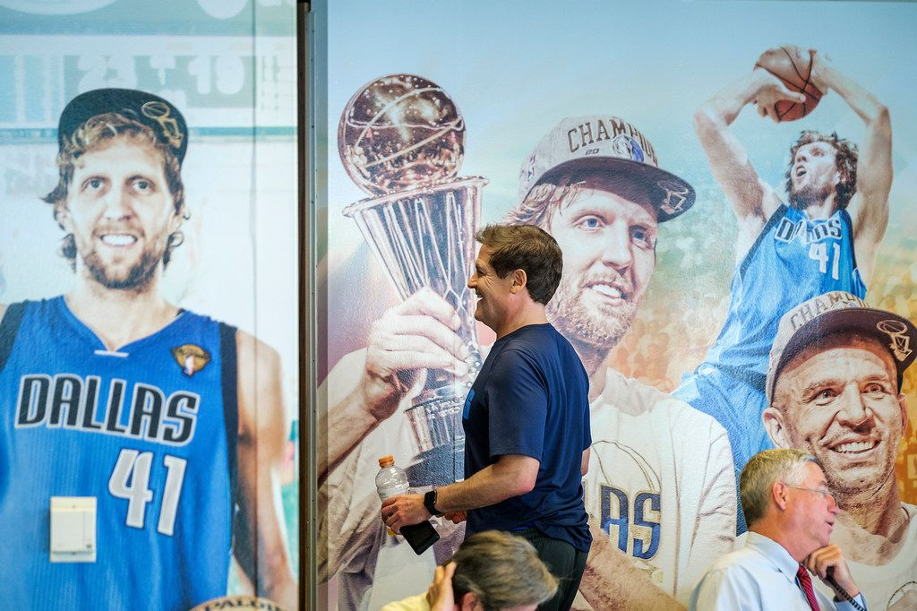 Dallas Mavericks owner Mark Cuban walks through the draft room at at American Airlines Center before the NBA draft on Thursday, June 20, 2019, in Dallas. (Smiley N. Pool/The Dallas Morning News)