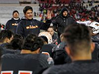 Haltom coach Jason Tucker talks to his players after the regional final game against Tascosa, Saturday, Dec. 8, 2018, at Jones AT&T Stadium in Lubbock, Texas.