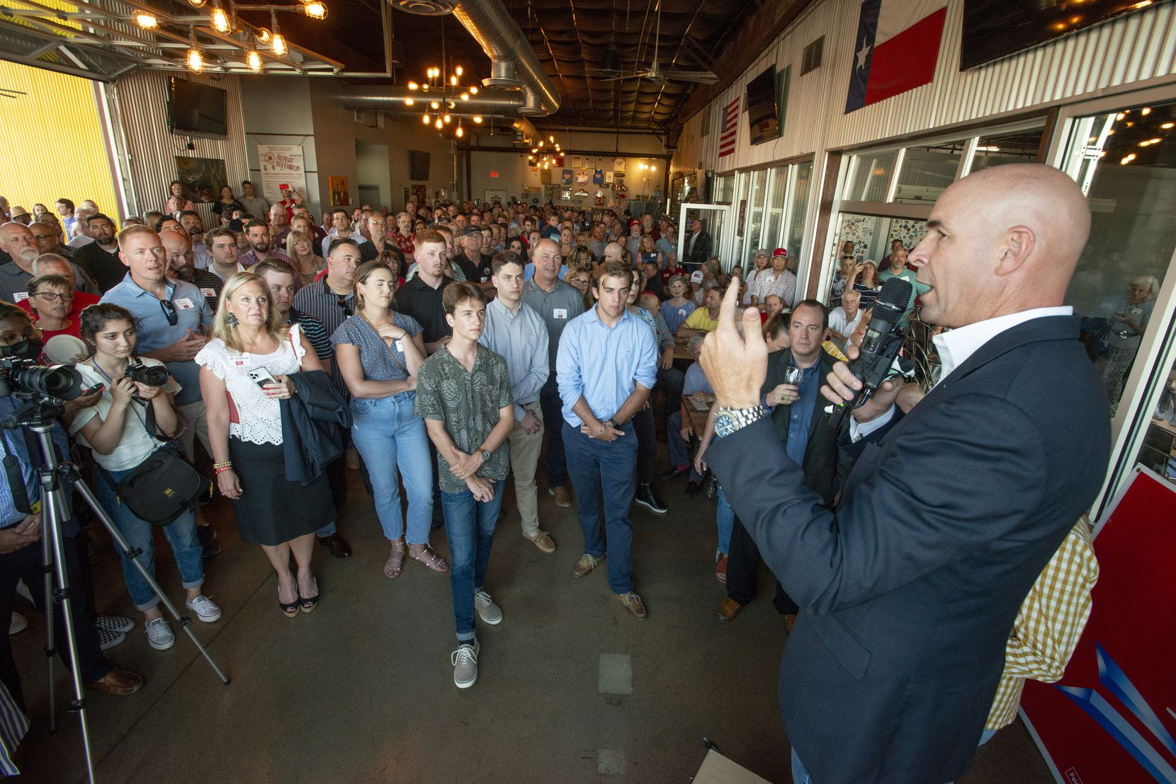 Congressional District 6 candidate Jake Ellzey speaks to supporters during an evening fundraiser at Legal Draft in Arlington, Texas on July 14,, 2021. (Robert W. Hart/Special Contributor)