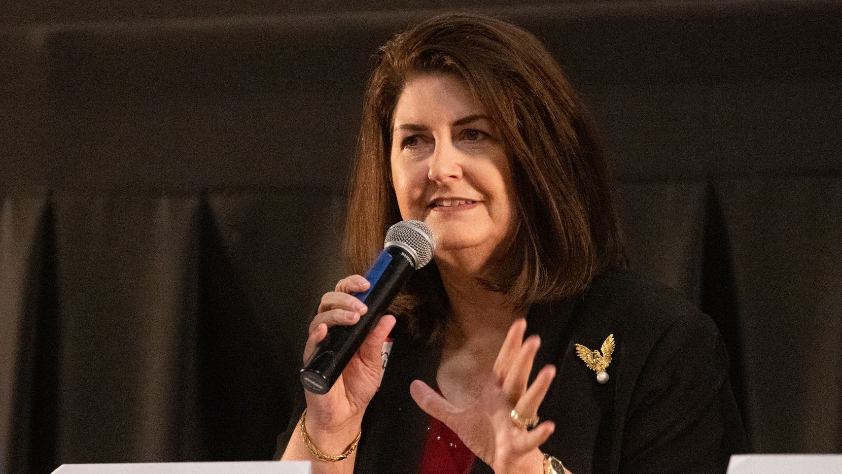 Susan Wright, a Republican candidate running in the 6th Congressional District of Texas race, answers questions during a forum hosted by the Arlington Republican Club at Studio Movie Grill in Arlington on Wednesday, March 31, 2021. (Juan Figueroa/ The Dallas Morning News)