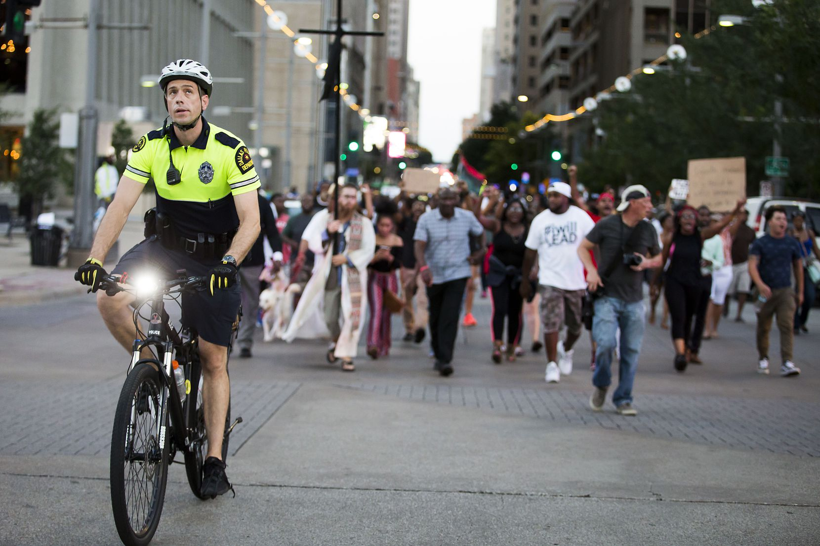 Some Dallas police officers were on bikes to help provide traffic control and security for the Black Lives Matter protesters who began marching peacefully through downtown about 7 p.m. July 7, 2016. Just before 9 p.m., a gunman began shooting at police officers.