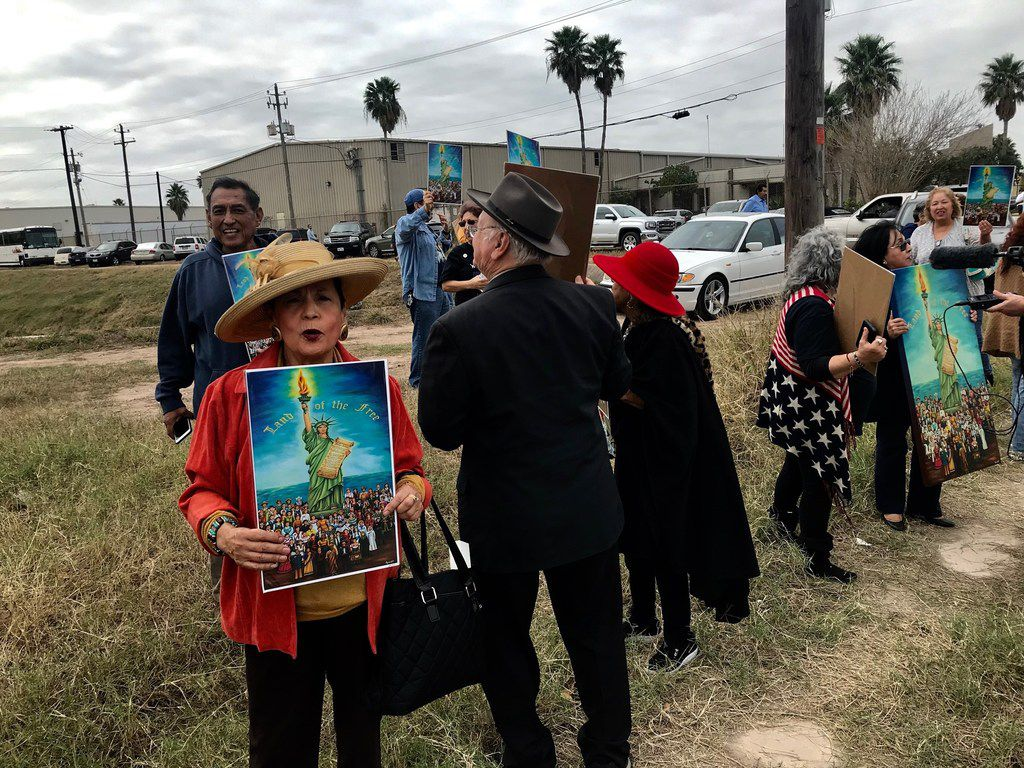 Rosa Rosales of San Antonio drove to the Rio Grande Valley to protest President Donald Trump on the day of his visit to the Valley to promote his plan for a wall.