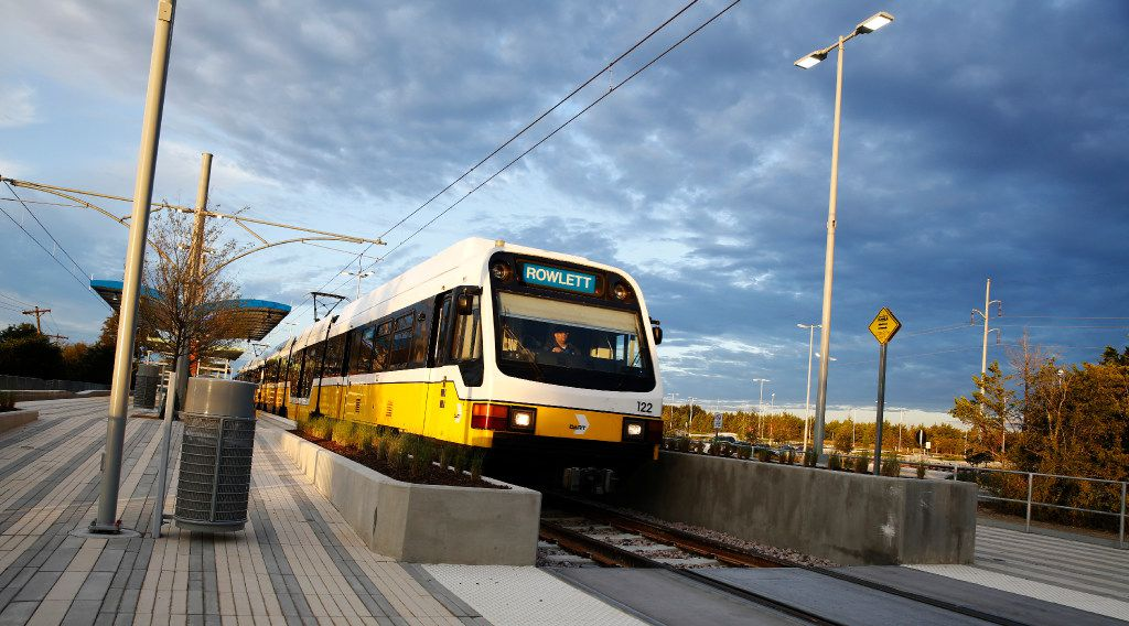 A DART train departs UNT Dallas Station on the Blue Line in southern Dallas on Monday, October 24, 2016. Today was the first day of service. (David Woo/The Dallas Morning News)