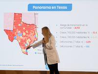 Alma Rosa Marroquín, secretaria de Salud de Nuevo León, detalló que en Texas el riesgo de transmisión de covid-19 es de 15.4 casos por cada 100,000 habitantes, mientras que en Nuevo León es de 4.42 casos por cada 100,000.