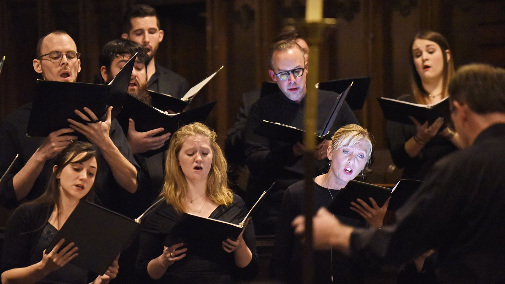 The Chamber Choir Incarnatus, directed by Scott Dettra, performs at the Church of Incarnation in Dallas on Jan. 24, 2020.