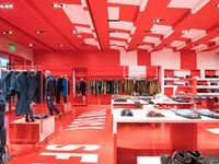 Red and white all over: Premium denim brand Diesel opened a new store at NorthPark Center in July.