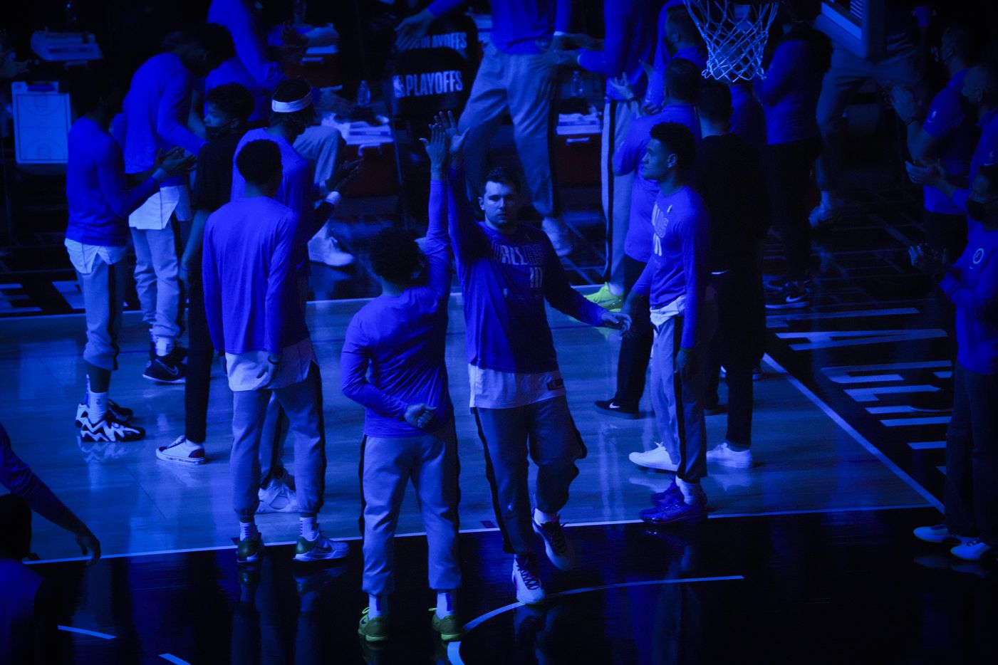 Dallas Mavericks guard Luka Doncic takes the floor for Game 7 of an NBA playoff series against the LA Clippers at the Staples Center on Sunday, June 6, 2021, in Los Angeles.