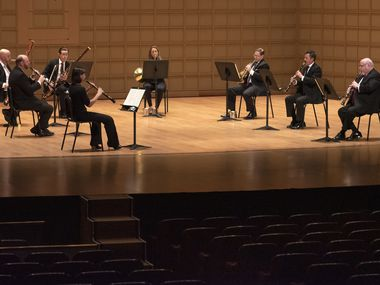 Members of the Dallas Symphony Orchestra perform Mozart Serenade in C minor, K. 388 for wind octet, part of their Summer Chamber Music, at the Morton H. Meyerson Symphony Center in Dallas, Saturday, June 13, 2020.