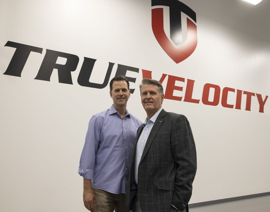 Chris Tedford (left), president and chief operating officer, and chairman and CEO Kevin Boscamp at the True Velocity manufacturing center in Garland.