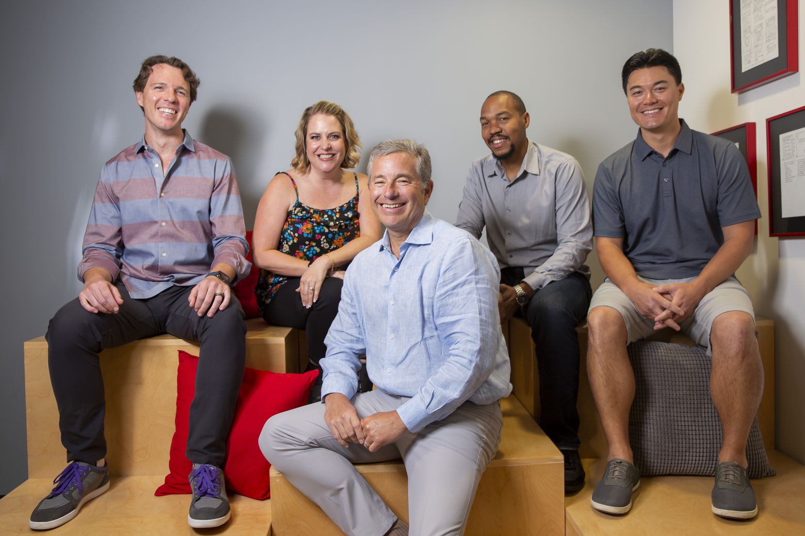 From left: Chief products officer David Allison, chief client officer Molly Smith, CEO Rob Pace, vice president of strategy Andre Benjamin and chief technology officer Michael Wong of HundredX are shown at the HundredX office.