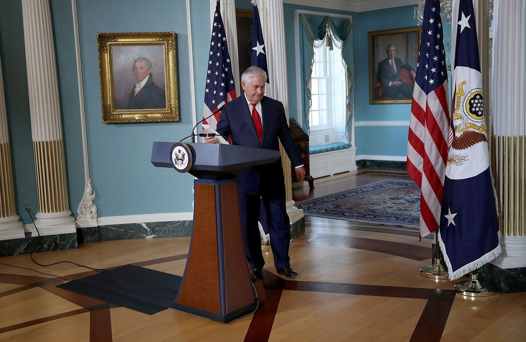 Secretary of State Rex Tillerson departs after answering questions and delivering a statement at the State Department October 4, 2017. Tillerson denied recent news reports indicating an imminent resignation from his position.
