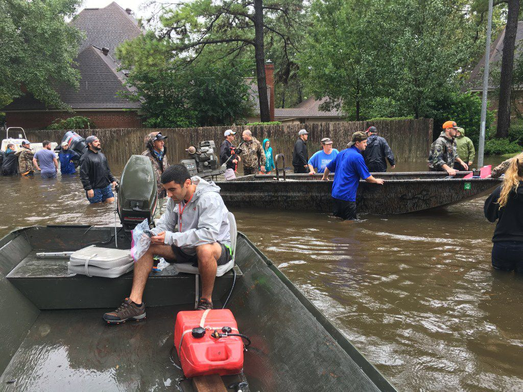 Dallas resident Sammy Abdullah takes part in search and rescue efforts in the Kingwood neighborhood of Houston on Tuesday, Aug. 29, 2017 in the wake of Harvey.