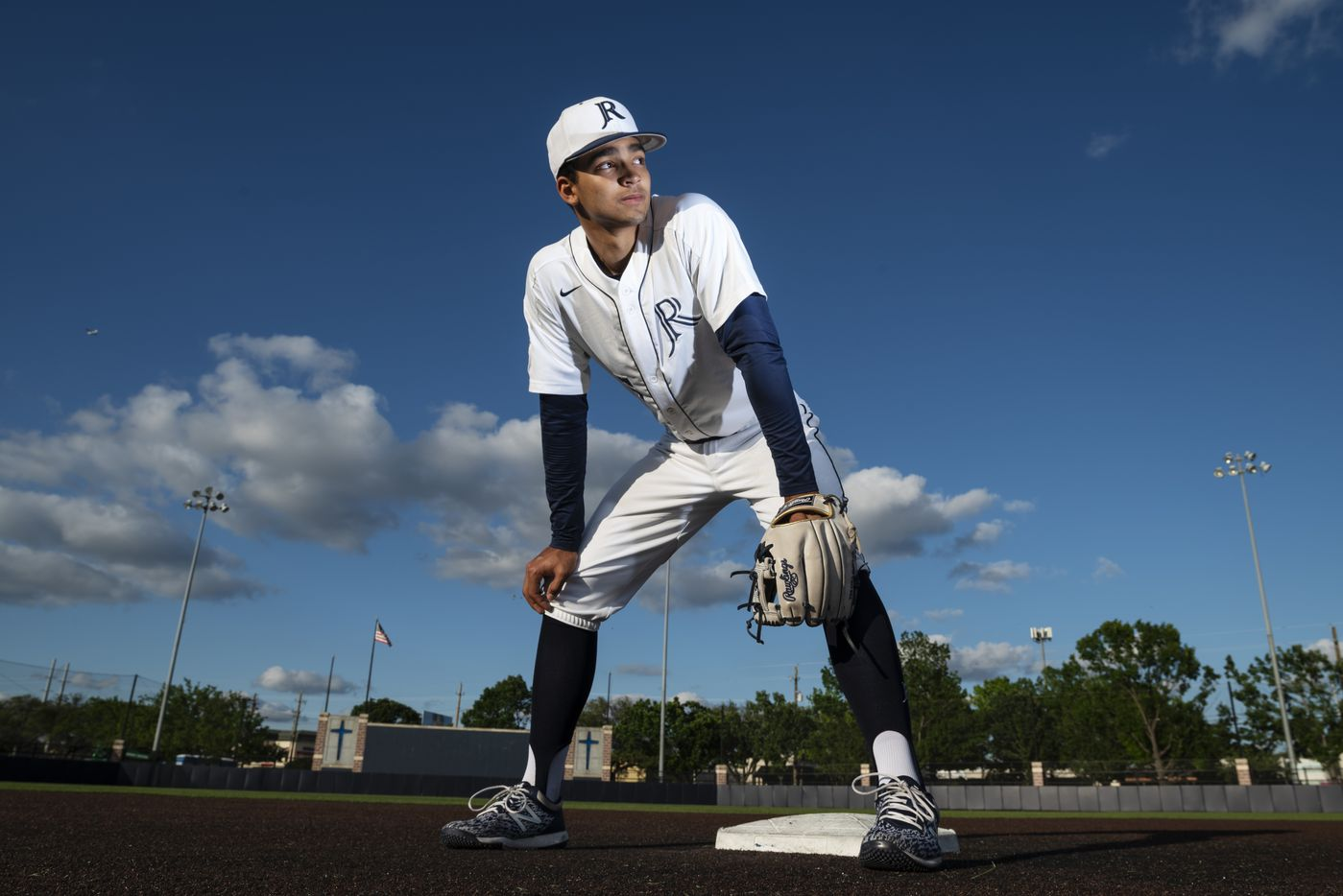 Jesuit senior shortstop Jordan Lawlar, 18, on the baseball field on the campus of Jesuit College Preparatory School of Dallas, on Tuesday, May 04, 2021.