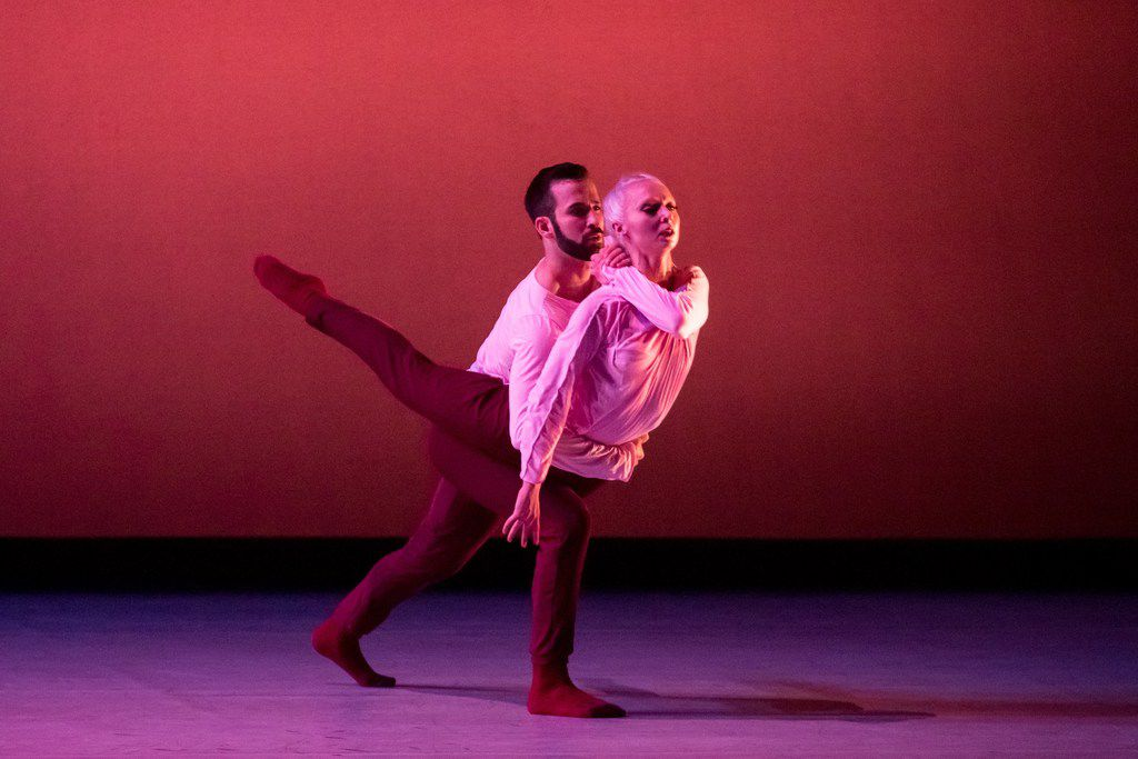 Gabriel Speiller and Megan Storey in a duet from the first section of choreographer Yin Yue's begin again. The Bruce Wood Dance company members will perform an excerpt at the Dallas Dances festival. (Photo by Sharen Bradford)