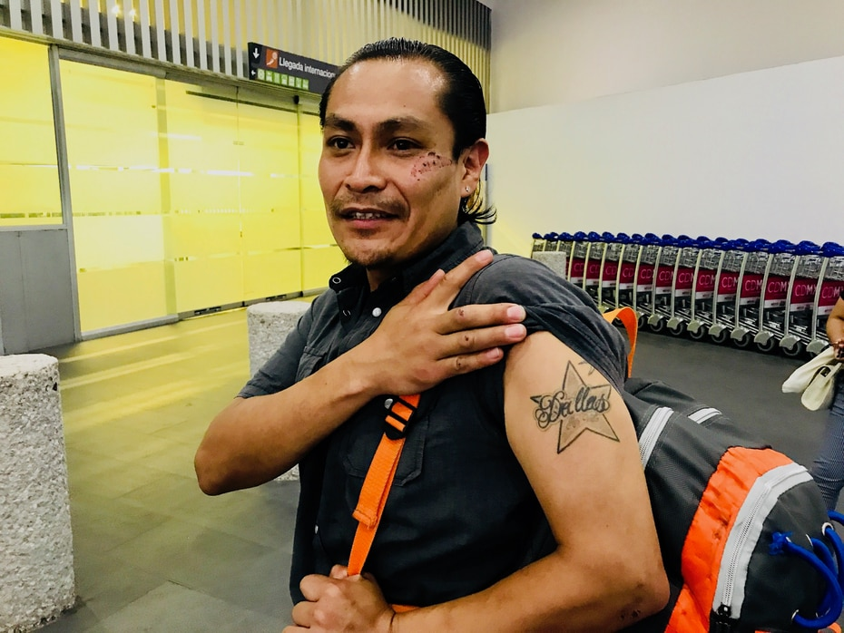 Arnold Guaderrama was deported from Dallas where he grew up. He misses Dallas, as his tattoo demonstrates.