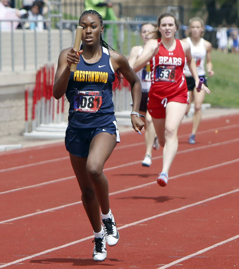 Prestonwood sprinter Nadia Thomas carried the baton to a first place finish as the anchor leg of the school's 6A Women's 4X200 Meter Relay team. The running finals from the TAPPS state track meet were held at Waco Midway's Panther Stadium in Hewitt on May 1, 2021. (Steve Hamm/ Special Contributor)