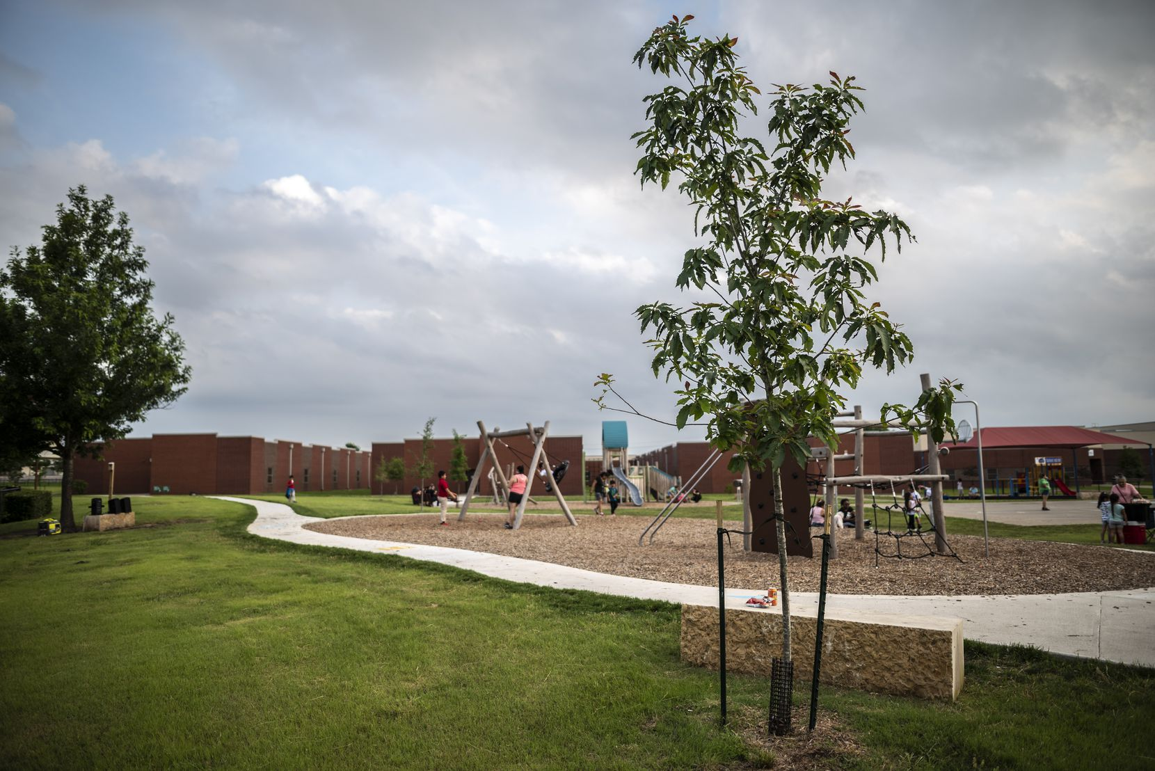 The Cool School Neighborhood Parks initiative includes planting a variety of Texas native trees on campuses and constructing loop trails, such as this one at Dallas ISD's Guzick Elementary.
