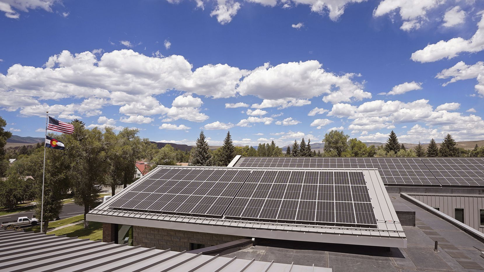 Johnson Controls installed solar panels on top of a county courthouse in Colorado in 2020.