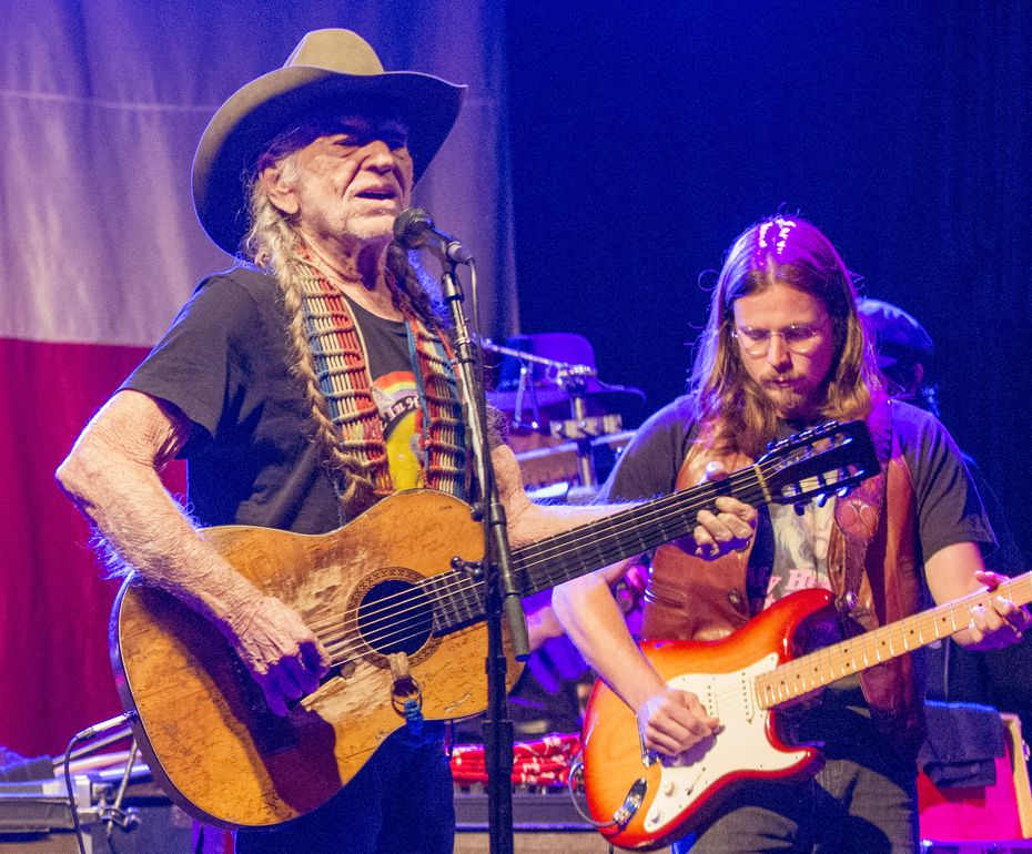 Country music legend Willie Nelson performs at Billy Bob's Texas on November 12, 2016, during the bar's 35th anniversary celebration in Fort Worth, Texas. Nelson's son, Lukas Nelson, is at right.