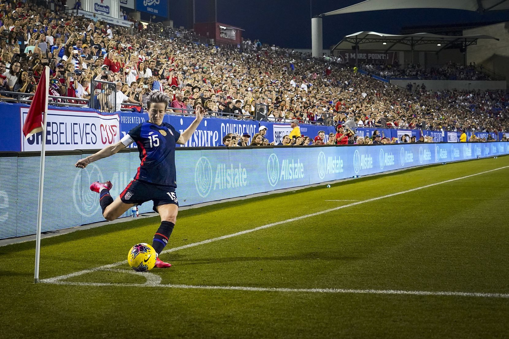 U.S. Women's National Team forward Megan Rapinoe took a corner kick during the first half of a SheBelieves Cup soccer game against Japan on March 11, 2020, in Frisco. A sold-out stadium of 19,096 fans was on hand to watch the U.S. victory in what would become one of the last large gatherings in North Texas before orders restricting such gatherings would go into effect.