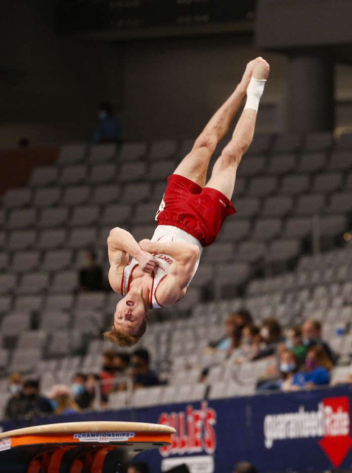 University of Oklahoma's Matt Wenske performs on the vault during Day 1 of the US gymnastics championships on Thursday, June 3, 2021, at Dickies Arena in Fort Worth. (Juan Figueroa/The Dallas Morning News)