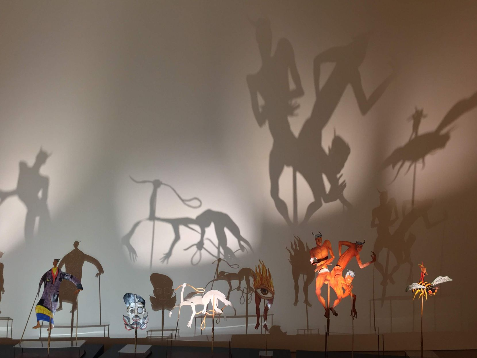 SCAD (Savannah College of Art and Design) Museum of Art fills an 1853 railroad depot with provocative works, including these shadow puppets.